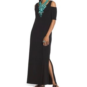 Chico's Cold Shoulder Long Black Tunic Maxi Dress